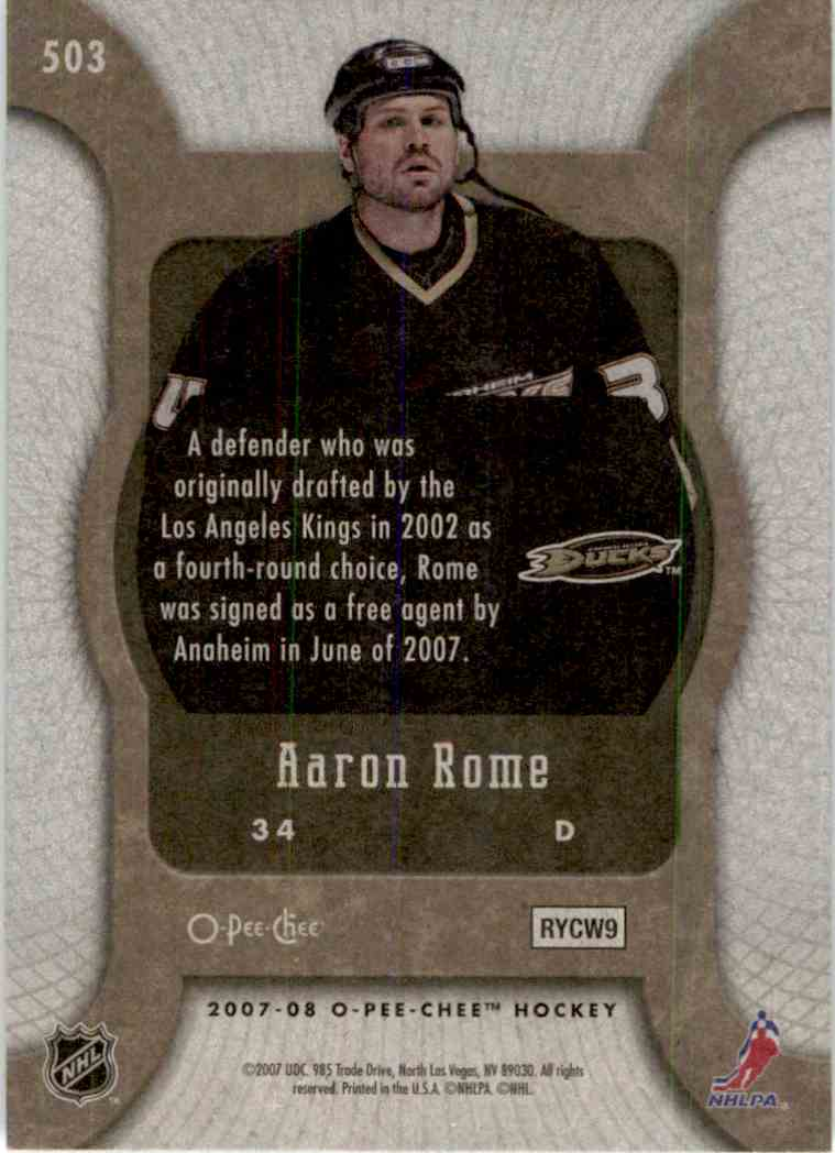 2007-08 O-Pee-Chee Marquee Rookie Aaron Rome #503 card back image