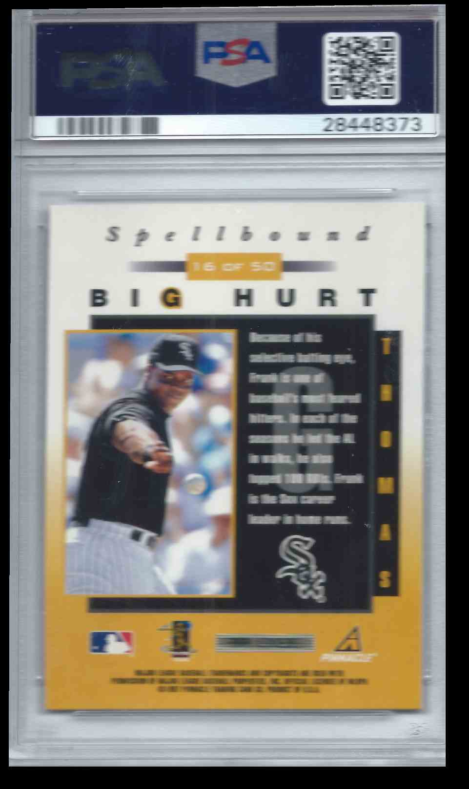 1998 Pinnacle Spellbound Big Hurt Frank Thomas #16 card back image