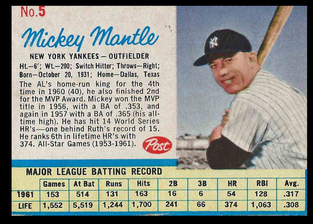 1962 Post Mickey Mantle #5 card front image