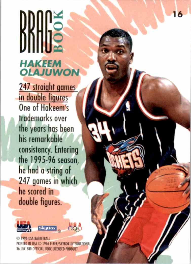 1996-97 SkyBox USA Hakeem Olajuwon #16 card back image