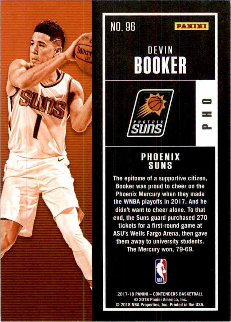 2017-18 Panini Contenders Base Devin Booker #96 card back image