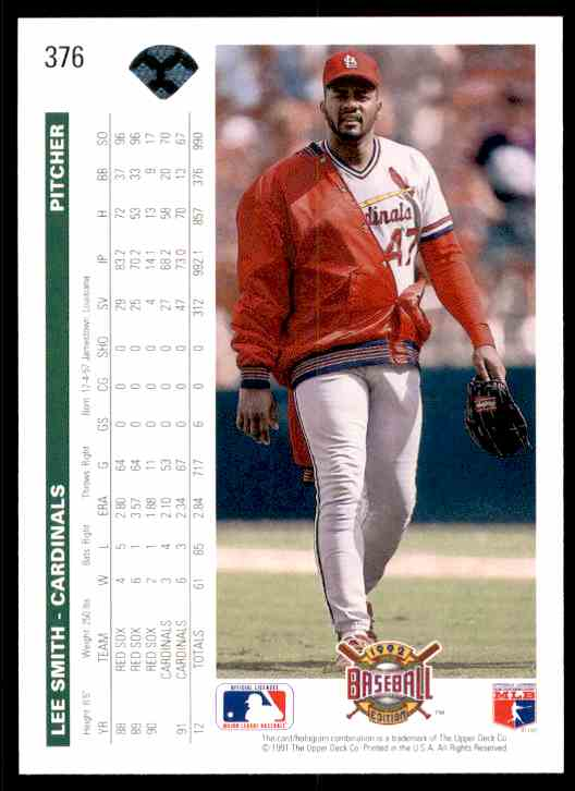 1992 Upper Deck Lee Smith #376 card back image