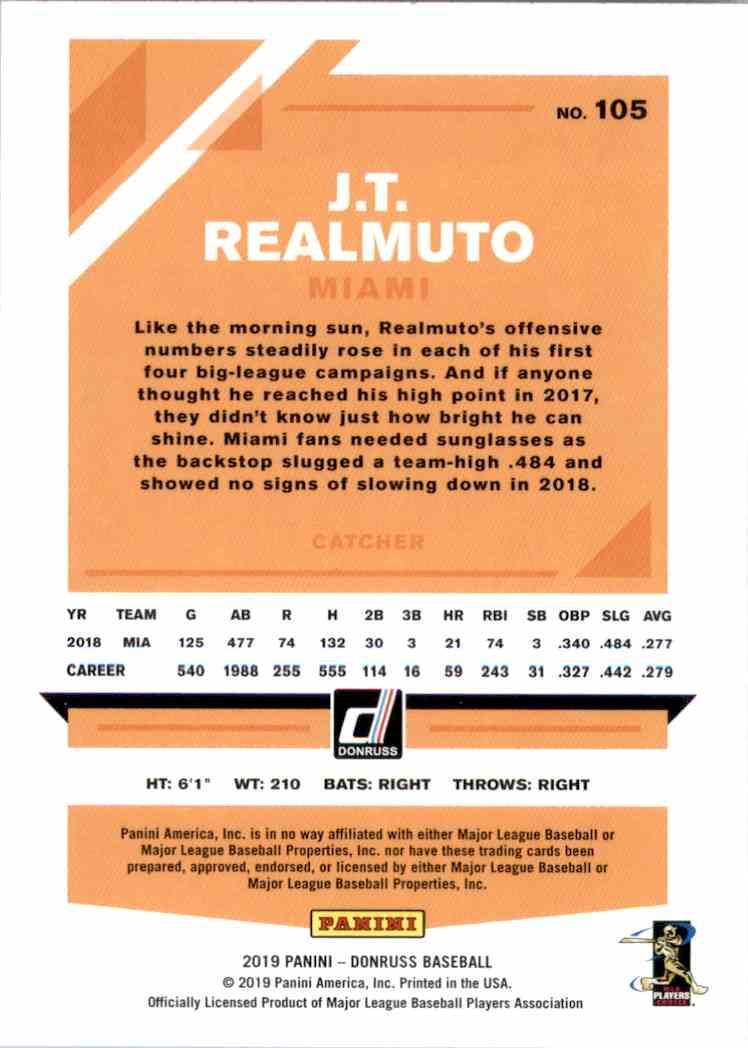 2019 Donruss J.T. Realmuto #105 card back image