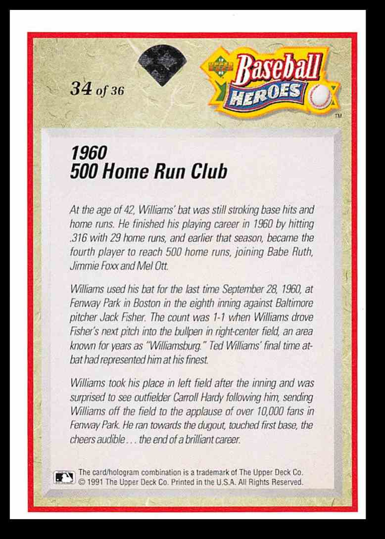 1992 Upper Deck Williams Heroes Ted Williams #34 card back image
