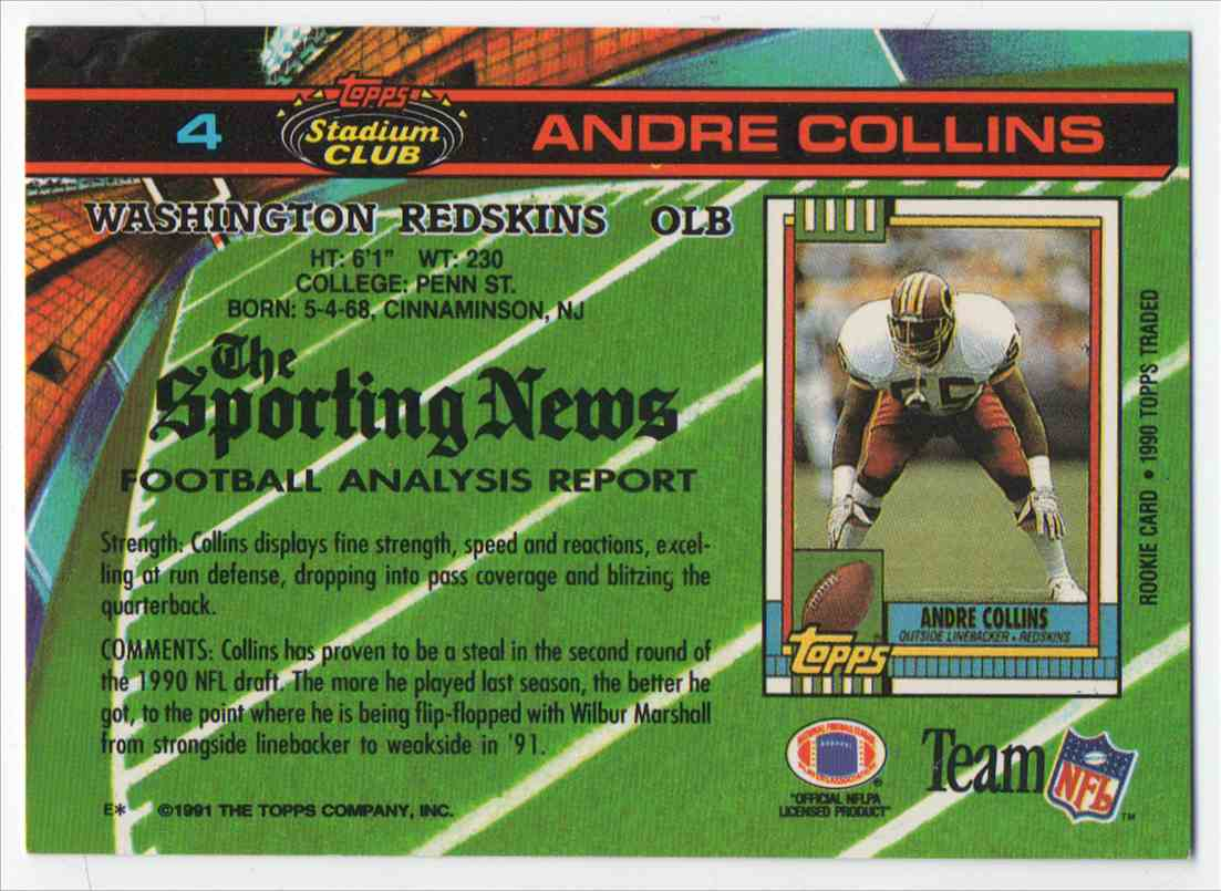 1991 Stadium Club Andre Collins #4 card back image