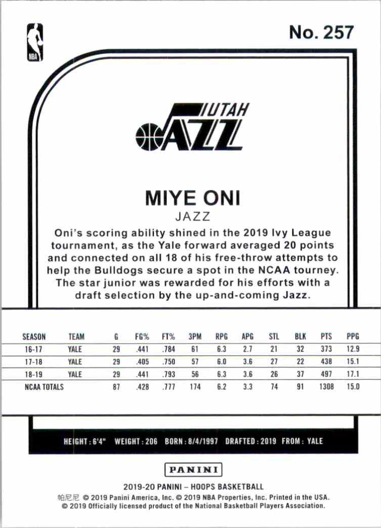 2019-20 Hoops Miye Oni RC #257 card back image