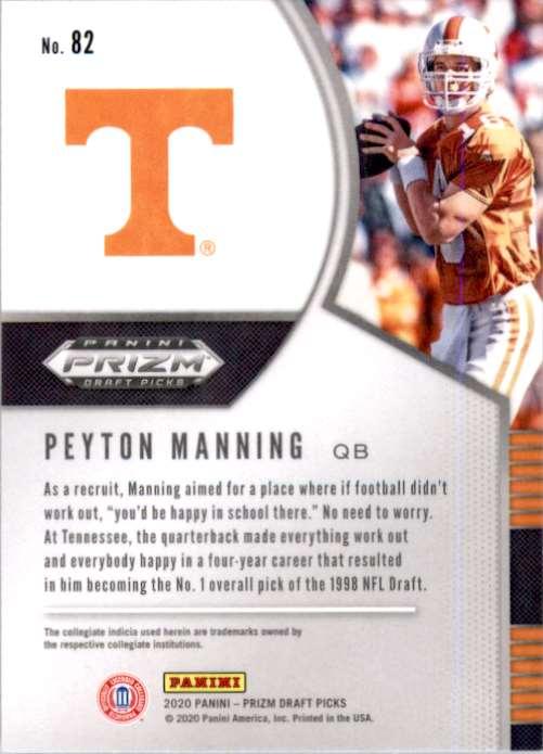 2020 Panini Prizm Draft Picks Peyton Manning #82 card back image