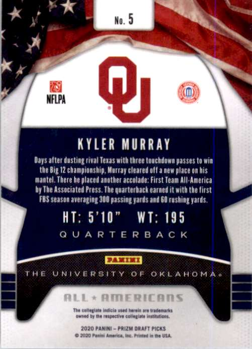 2020 Panini Prizm Draft Picks Kyler Murray #5 card back image