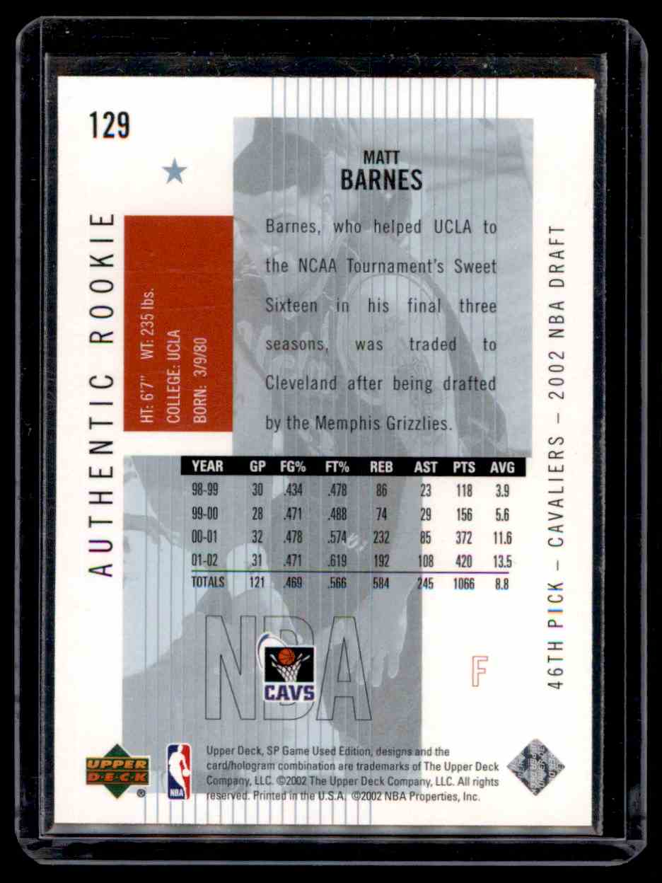 2002-03 SP Game Used Matt Barnes #129 card back image