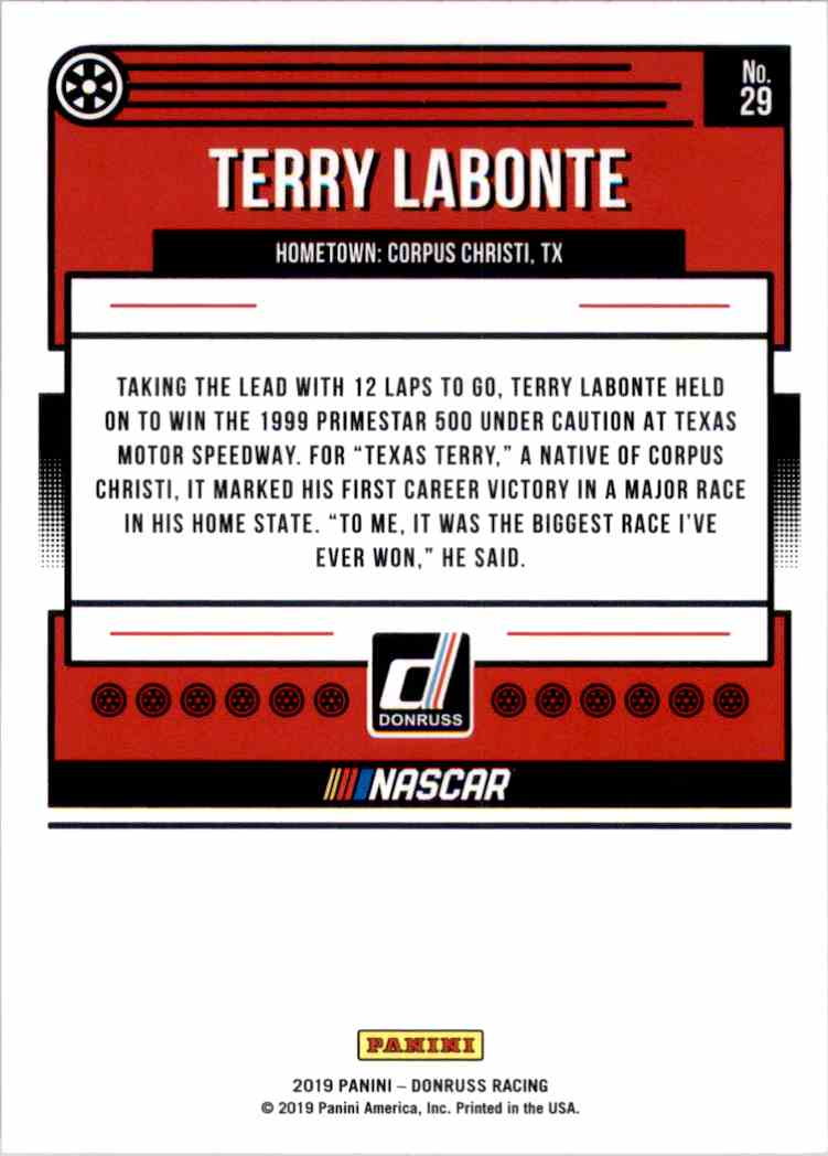 2019 Donruss Terry Labonte #29 card back image