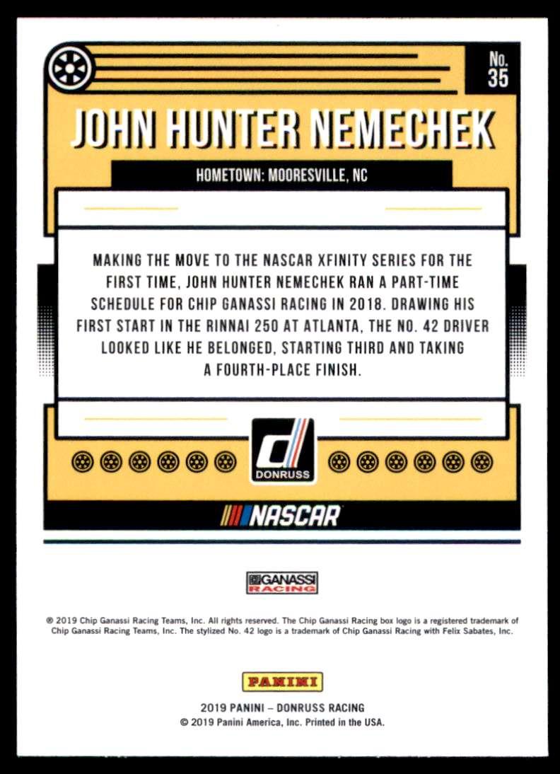 2019 Donruss John Hunter Nemechek #35 card back image