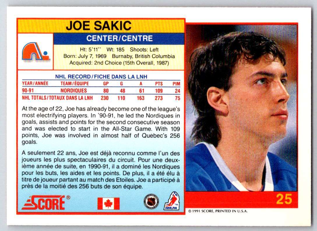1991-92 Score Canadian Bilingual Joe Sakic #25 card back image