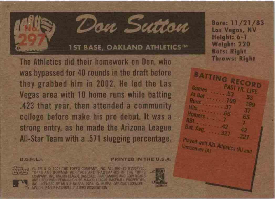 2004 Bowman Heritage Don Sutton #297 card back image