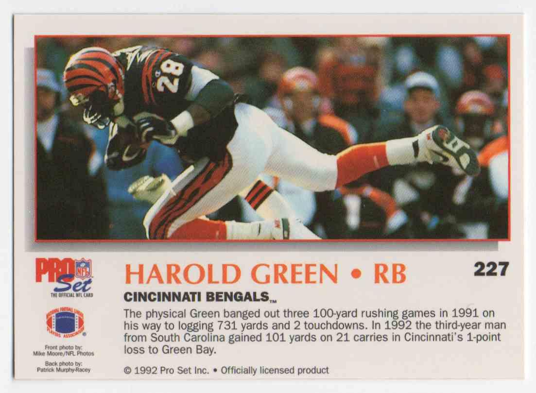 1992 Pro Set Power Harold Green #227 card back image