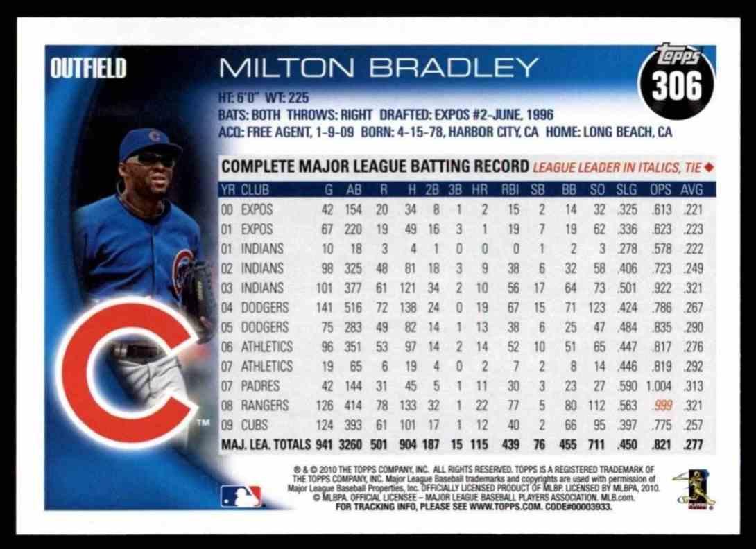 2010 Topps Milton Bradley #306 card back image