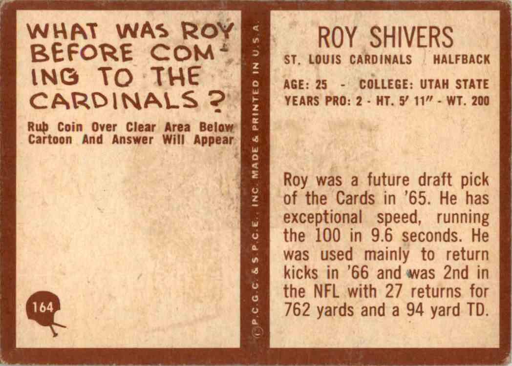 1967 Philadelphia Roy Shivers #164 card back image