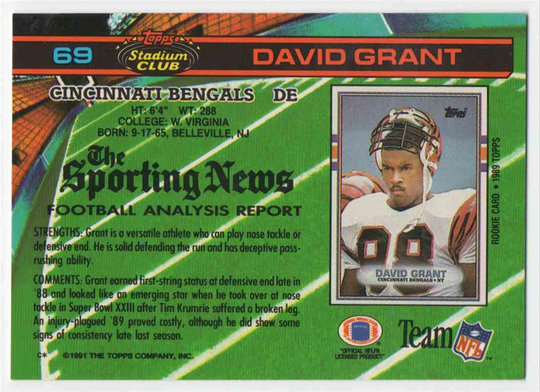 1991 Stadium Club David Grant #69 card back image