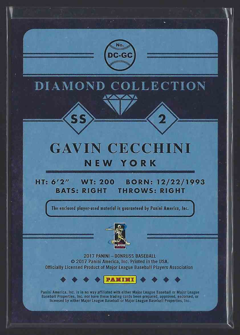 2017 Donruss Diamond Collection Memorabilia Gavin Cecchini #DCGC card back image