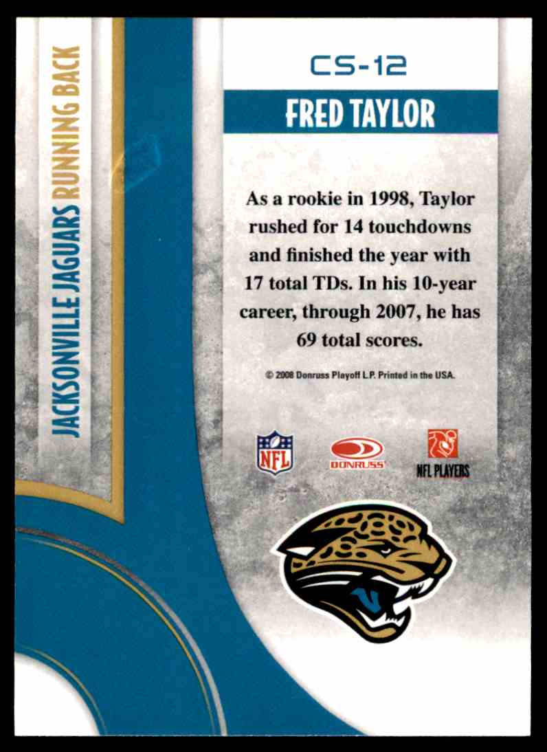2008 Donruss Threads Century Stars Fred Taylor #CS-12 card back image