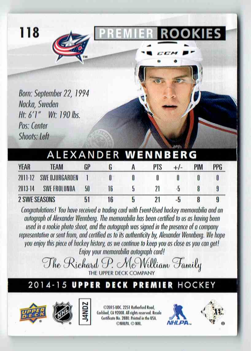 2014-15 Upper Deck Premier Rookies Patch Auto Alexander Wennberg #118 card back image