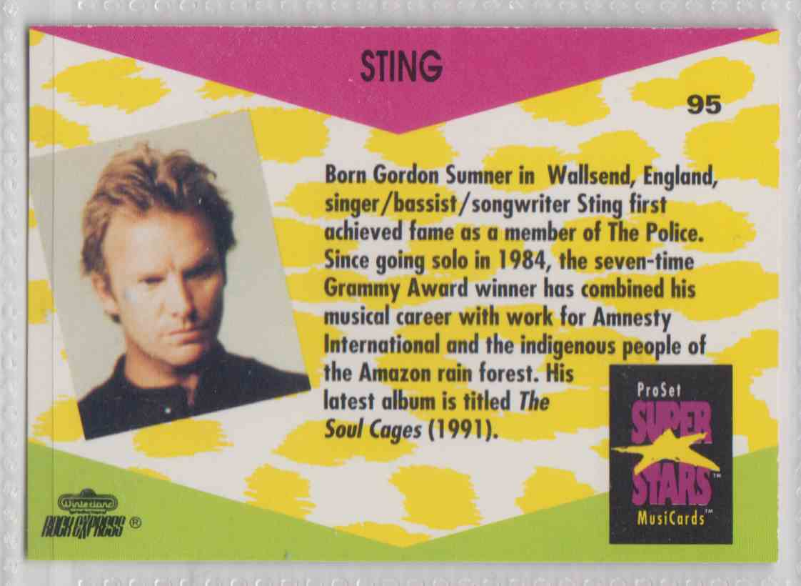 1991 Pro Set SuperStars MusiCards Sting #95 card back image