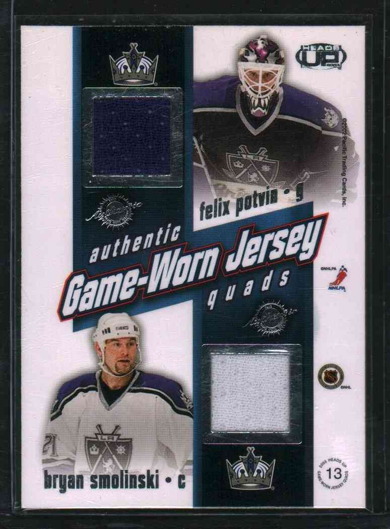 2002-03 Pacific Authentic Game-Worn Jersey Jason Allison,Ziggy Palffy,Felix Potvia,Aryan Smolinski #13 card back image