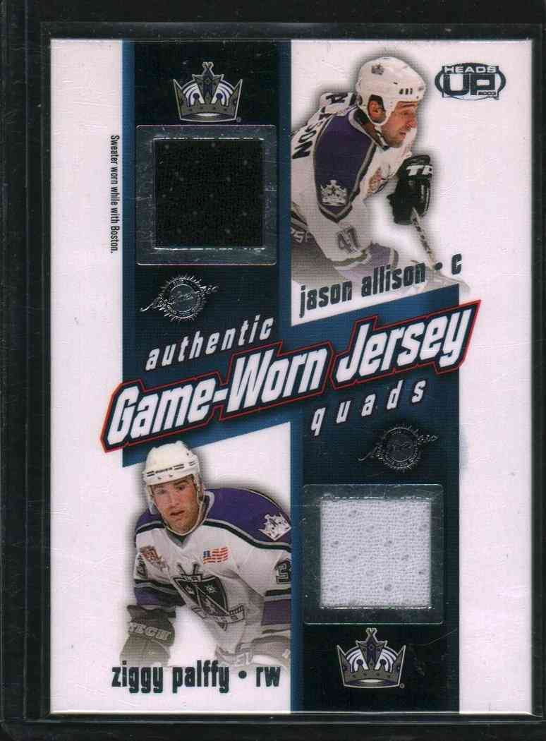 2002-03 Pacific Authentic Game-Worn Jersey Jason Allison,Ziggy Palffy,Felix Potvia,Aryan Smolinski #13 card front image