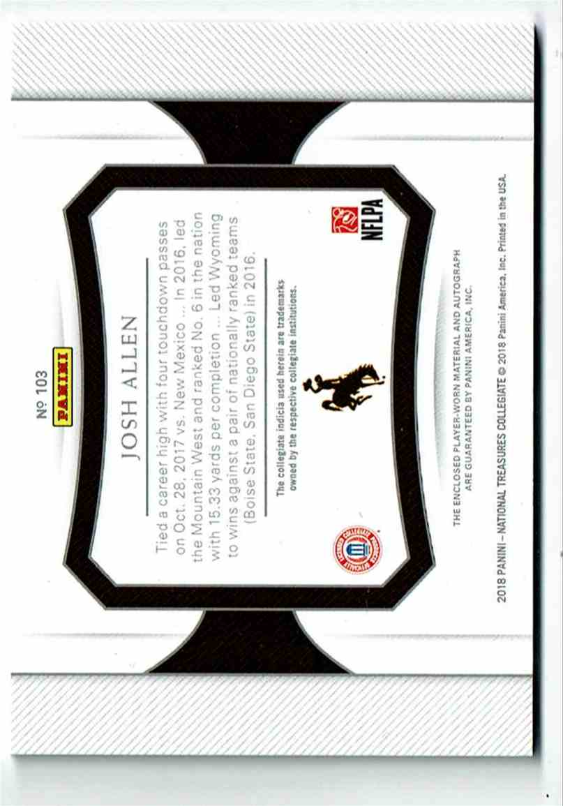 2018 Panini National Treasures Collegiate Josh Allen #103 card back image