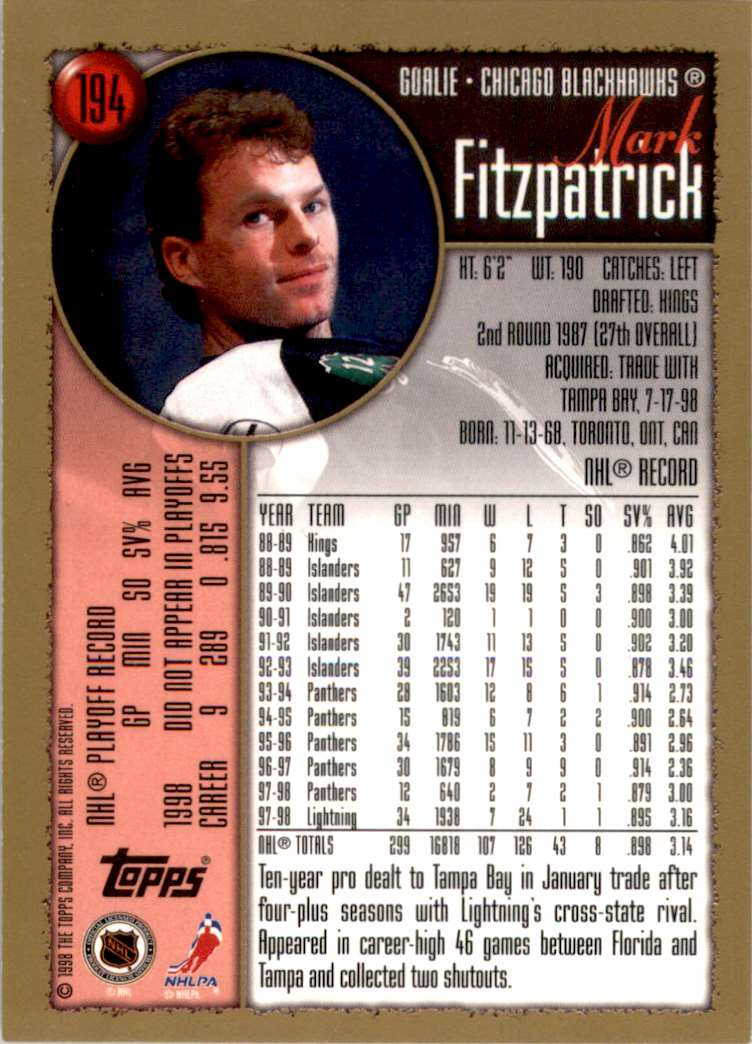 1998-99 Topps Mark Fitzpatrick #194 card back image