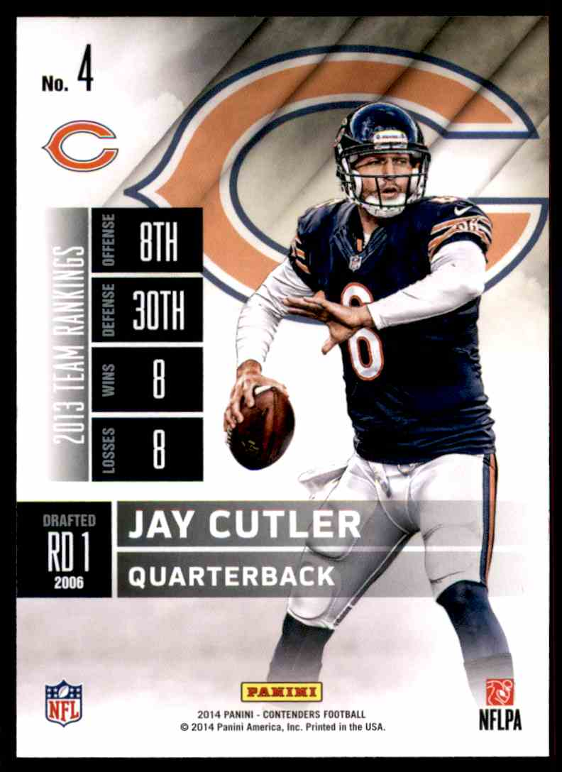 2014 Panini Contenders Jay Cutler #4 card back image