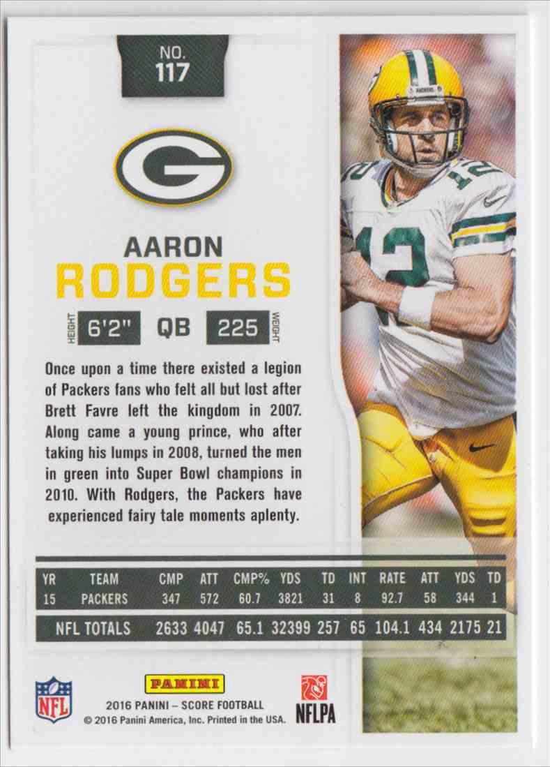 Aaron Rodgers 2016 panini score football card!!!