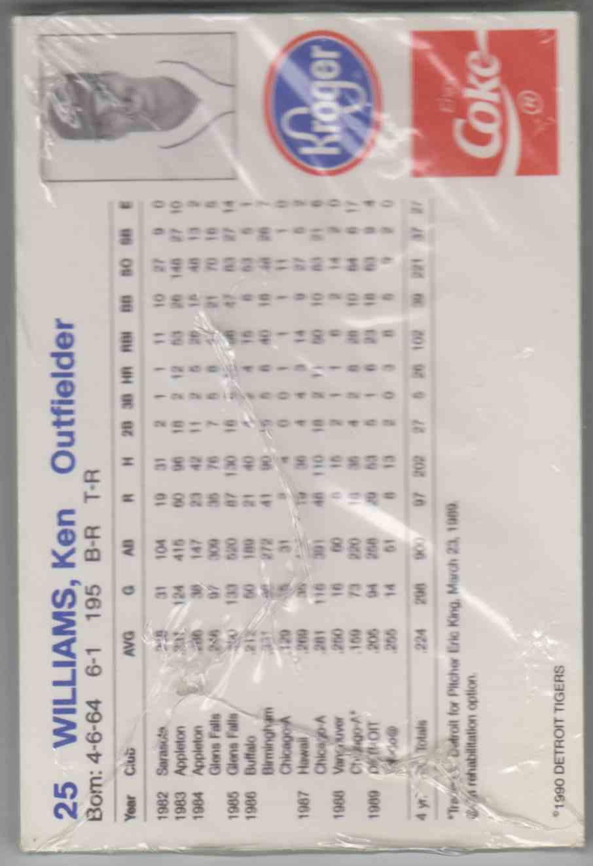 1990 Tigers Coke/Kroger Sparky Anderson #1 card back image