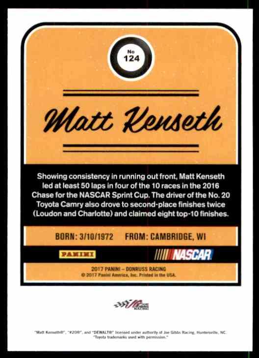 2017 Donruss Matt Kenseth #124 card back image