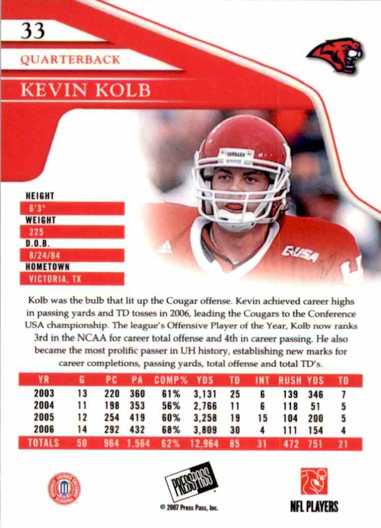 2007 Press Pass Reflectors Kevin Kolb #33 card back image