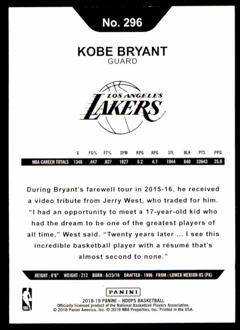 2018-19 Paninini NBA Hoops Kobe Bryant #296 card front image