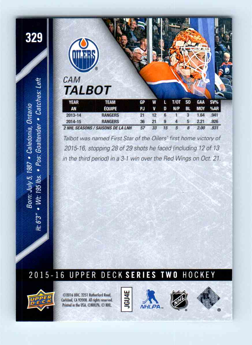 2015-16 Upper Deck Series Two Cam Talbot #329 card back image