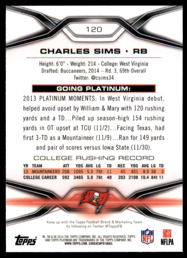 2014 Topps Platinum Charles Sims RC #120 card back image