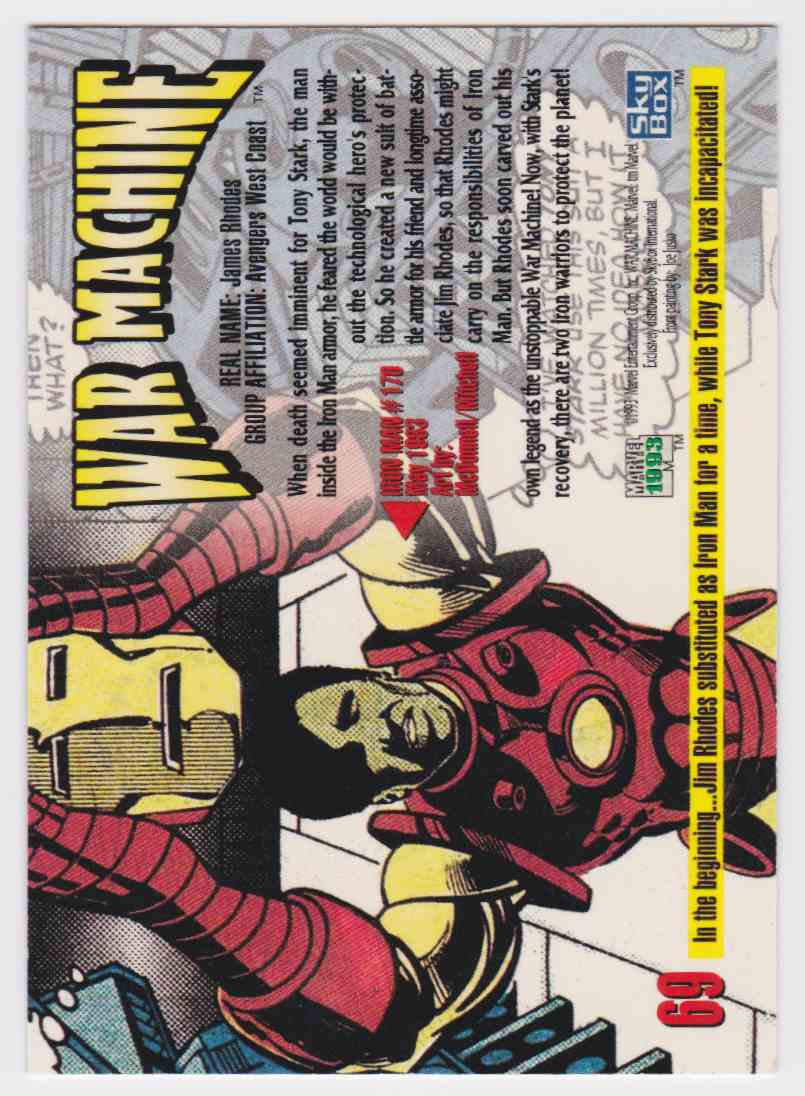 1993 Marvel MasterPieces War Machine #69 card back image