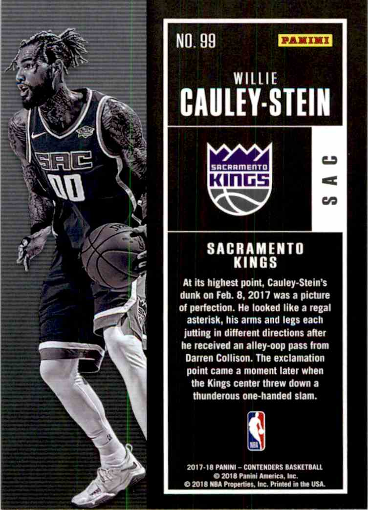 2017-18 Panini Contenders Base Willie Cauley-Stein #99 card back image