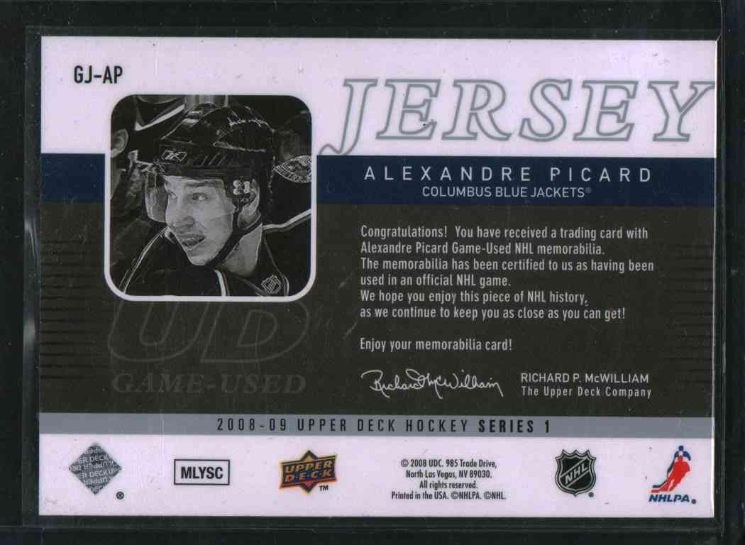 2008-09 Upper Deck Alexandre Picard #GJ-AP card back image