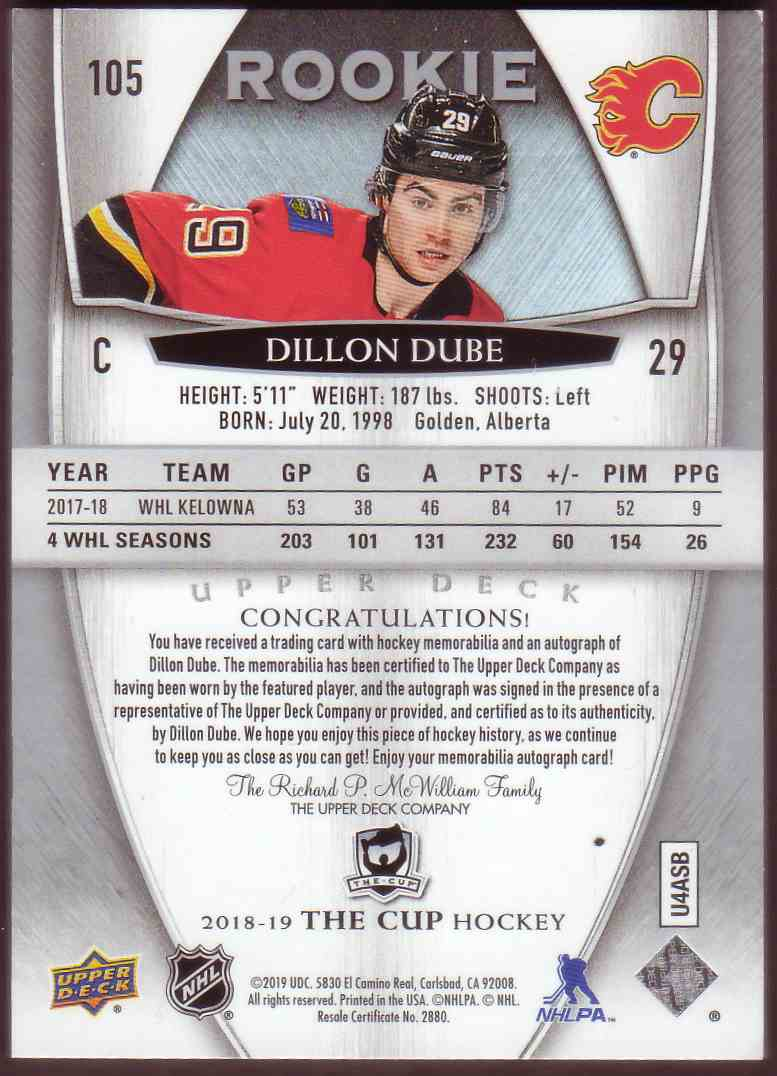 2018-19 Upper Deck The Cup Rookie Patch Auto Dillon Dube #105 card back image