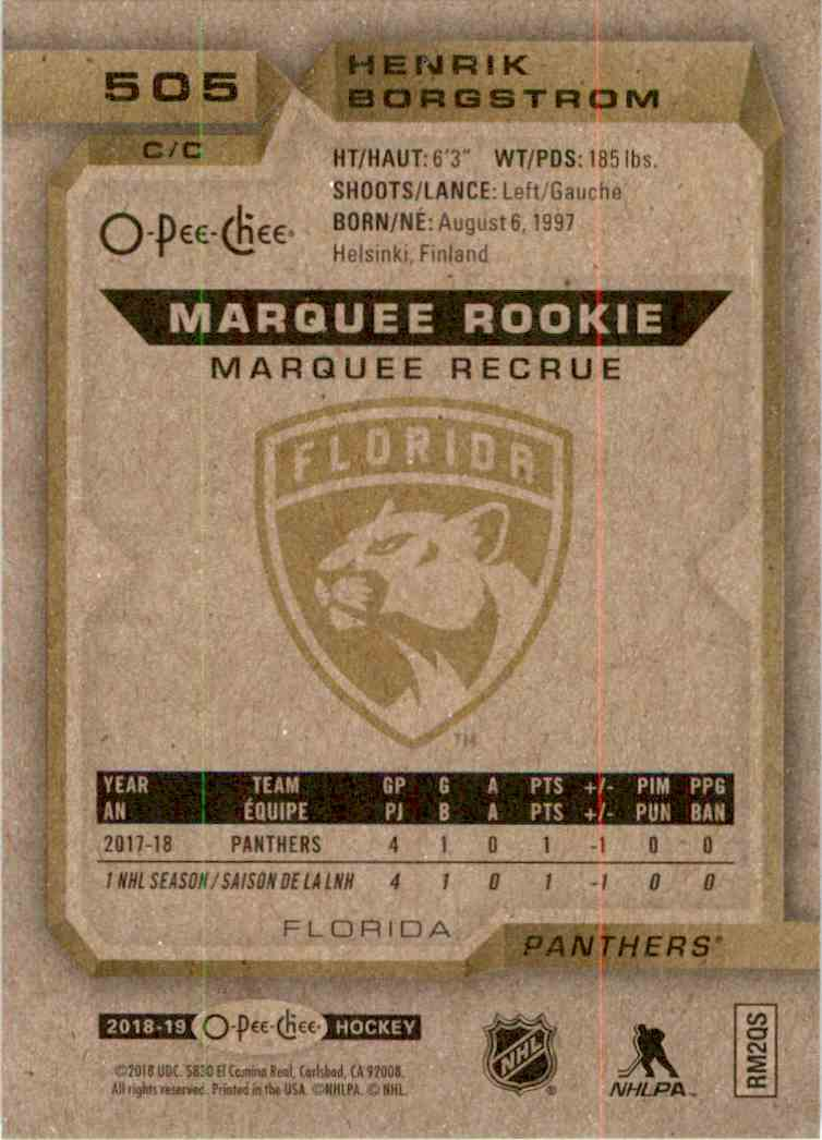 2018-19 O-Pee-Chee marquee Rookie Henrik Borgstrom #505 card back image