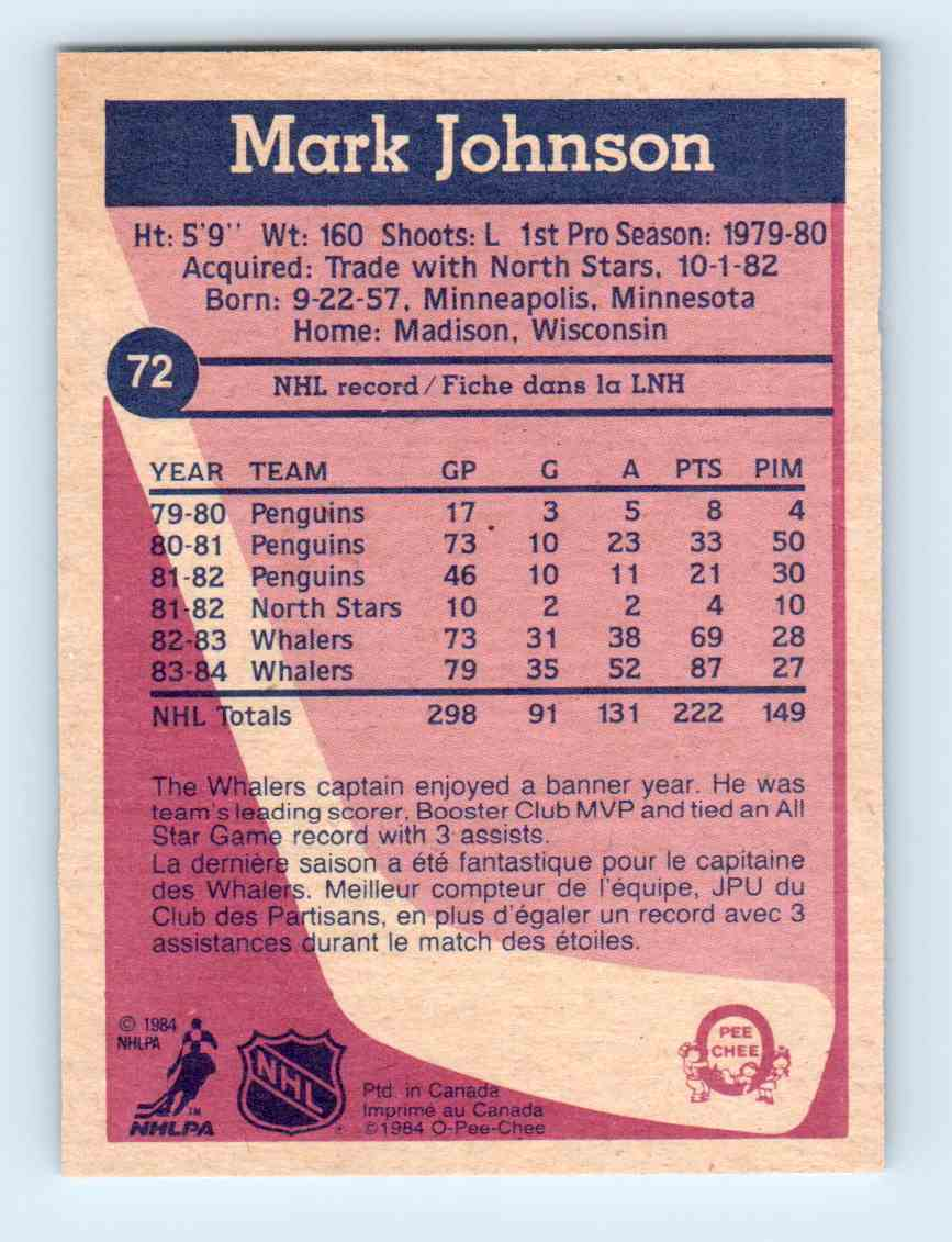 1984-85 O-Pee-Chee Mark Johnson #72 card back image