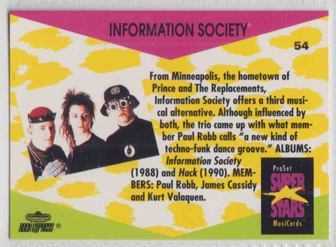 1991 Pro Set SuperStars MusiCards Information Society #54 card back image