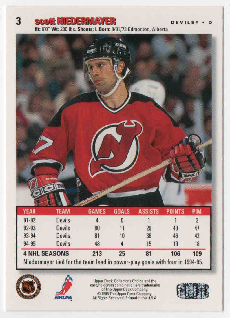1995-96 Upper Deck Collector's Choice Scott Niedermayer #3 card back image