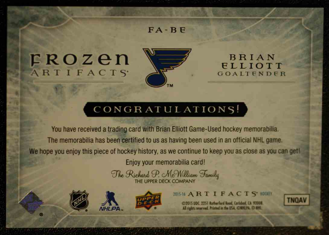 2015-16 Artifacts Frozen Artifacts Jerseys Bluel Brian Elliott #FA-BE card back image