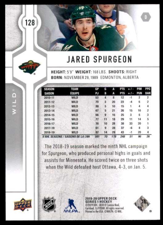 2019-20 Upper Deck Jared Spurgeon #128 card back image