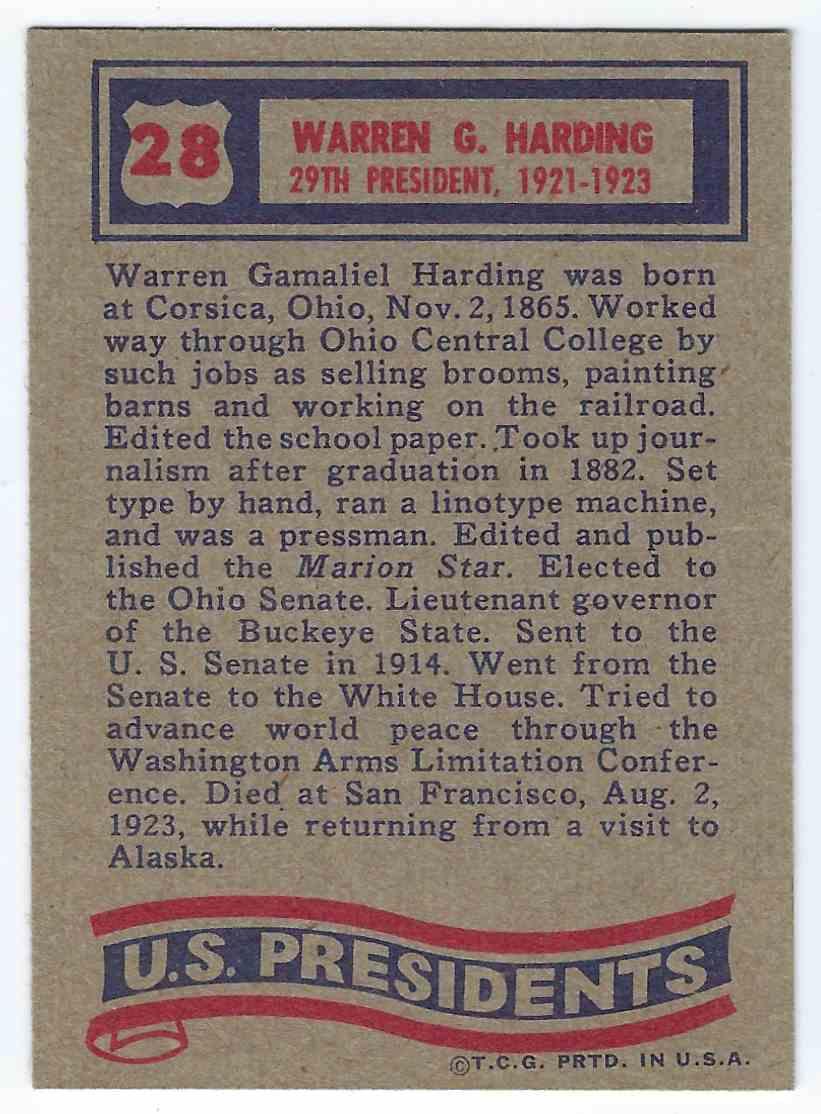 1972 Topps U.S. Presidents Warren G. Harding #28 card back image