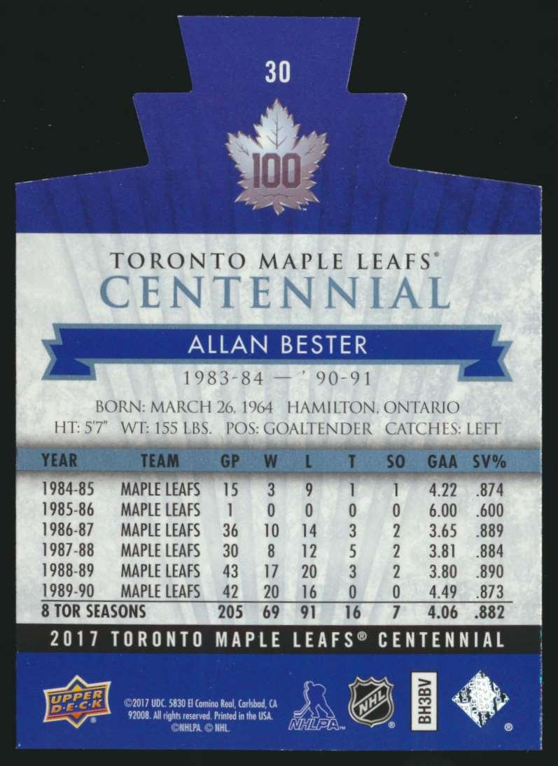2017-18 UD Maple Leafs Centennial Die Cut Allan Bester #30 card back image
