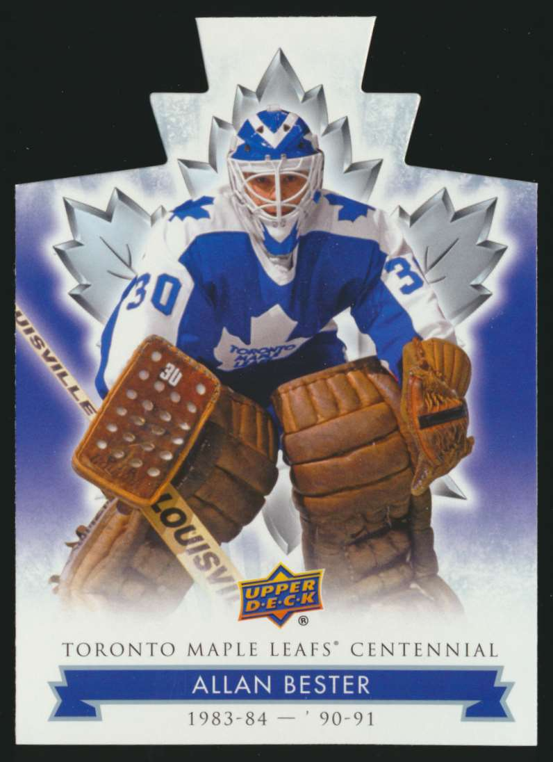 2017-18 UD Maple Leafs Centennial Die Cut Allan Bester #30 card front image